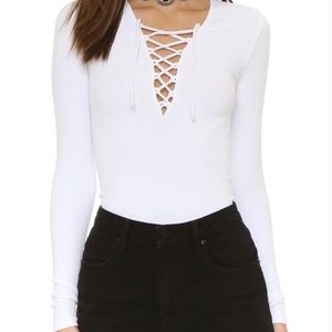 Intimately Free People Ribbed Lace Up Knit Shirt
